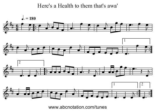 Here's a Health to them that's awa' - staff notation
