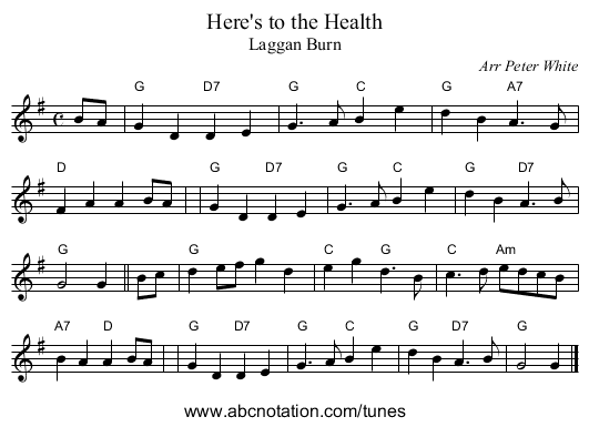 Here's to the Health - staff notation
