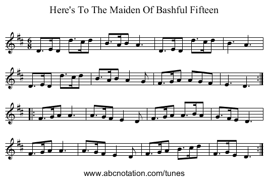 Here's To The Maiden Of Bashful Fifteen - staff notation