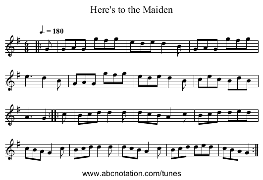 Here's to the Maiden - staff notation