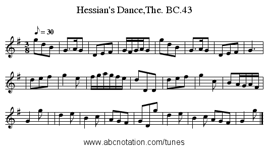 Hessian's Dance,The. BC.43 - staff notation