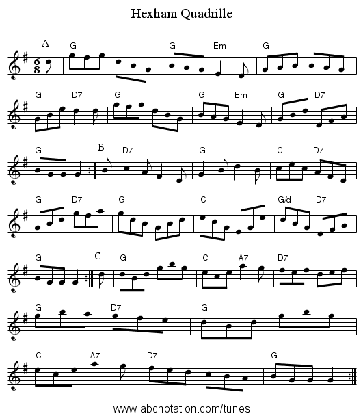 Hexham Quadrille - staff notation