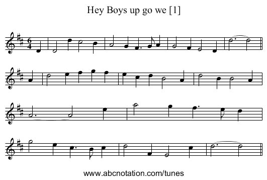 Hey Boys up go we [1] - staff notation
