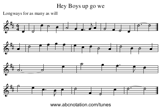 Hey Boys up go we - staff notation