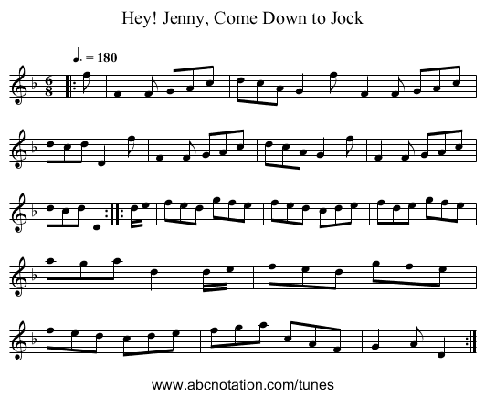 Hey! Jenny, Come Down to Jock - staff notation