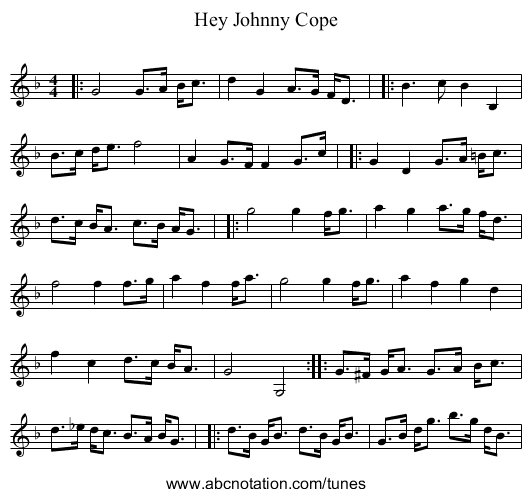 Hey Johnny Cope - staff notation