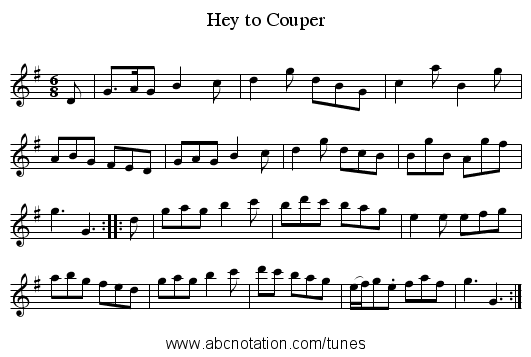 Hey to Couper - staff notation