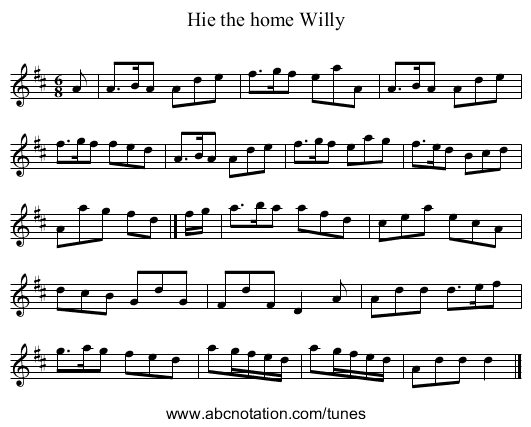 Hie the home Willy - staff notation