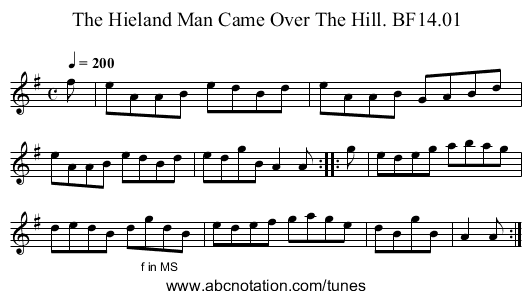 Hieland Man Came Over The Hill,The. BF14.01 - staff notation