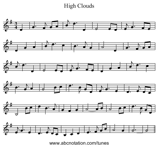 High Clouds - staff notation