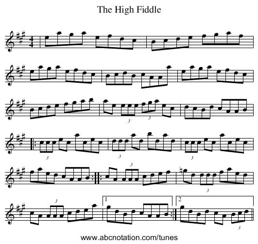 High Fiddle, The - staff notation