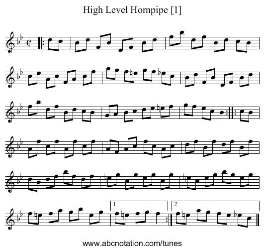High Level Hornpipe [1] - staff notation