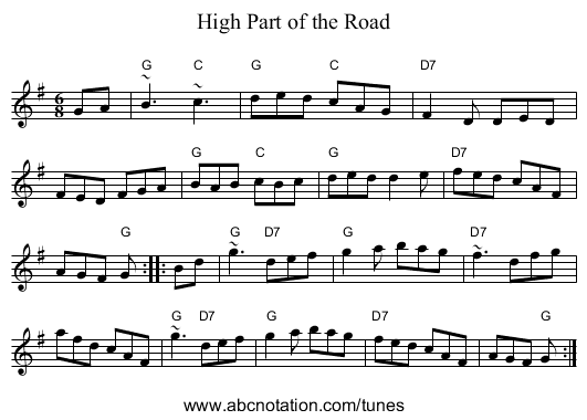 High Part of the Road - staff notation