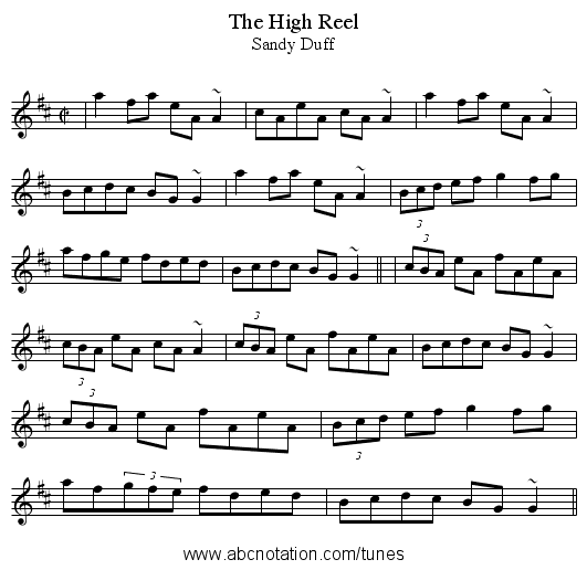 High Reel, The - staff notation
