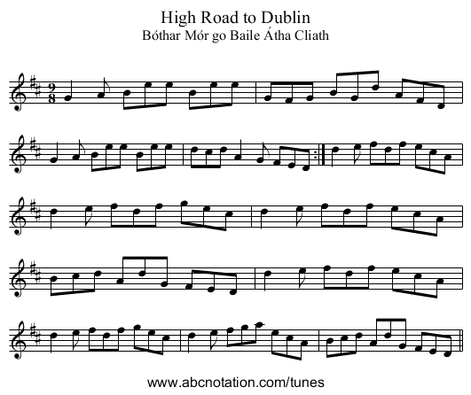 High Road to Dublin - staff notation
