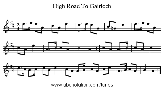 High Road To Gairloch - staff notation