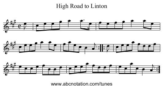 High Road to Linton - staff notation