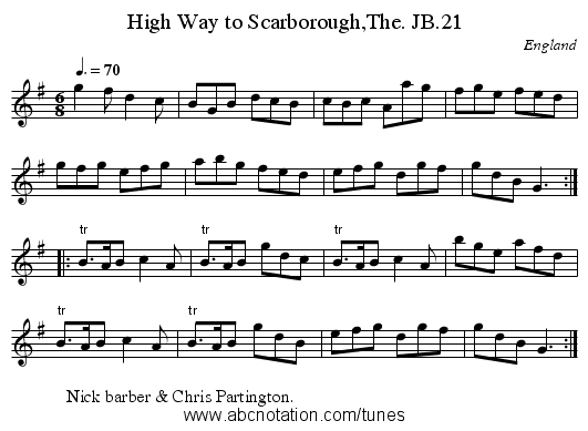 High Way to Scarborough,The. JB.21 - staff notation