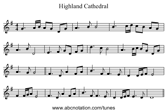 Highland Cathedral - staff notation