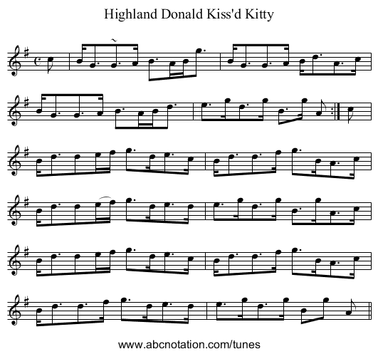 Highland Donald Kissed Kitty - staff notation