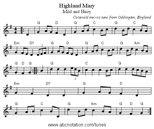 Highland Mary - staff notation