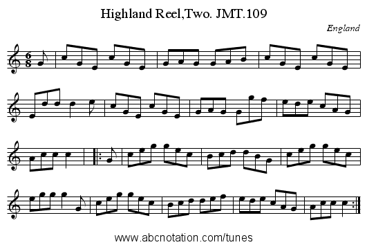 Highland Reel,Two. JMT.109 - staff notation