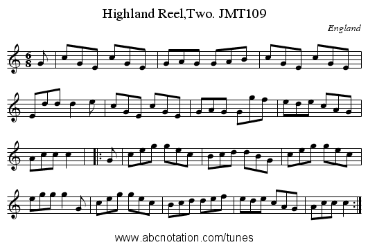 Highland Reel,Two. JMT109 - staff notation