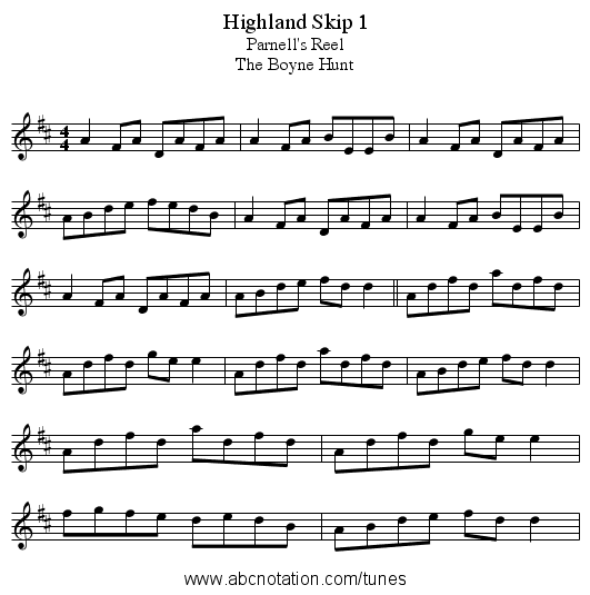 Highland Skip 1 - staff notation