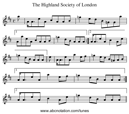 Highland Society of London, The - staff notation