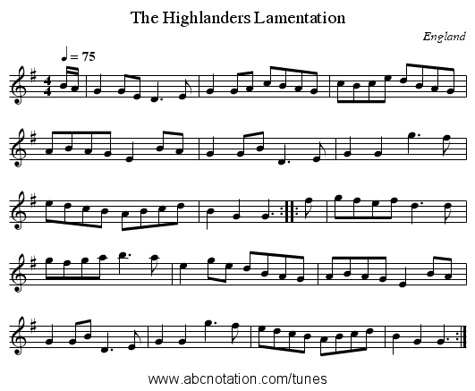 Highlanders Lamentation, The - staff notation