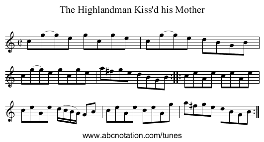 Highlandman Kiss'd his Mother, The - staff notation