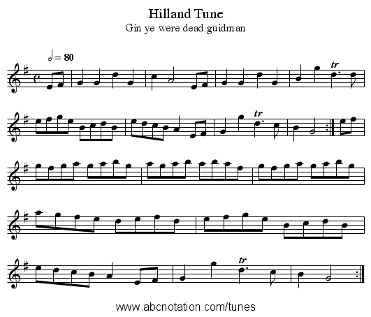 Hilland Tune - staff notation