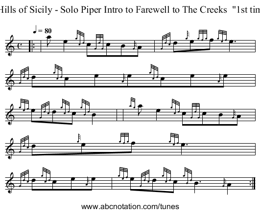 Hills of Sicily - Solo Piper Intro to Farewell to The Creeks  1st tim - staff notation