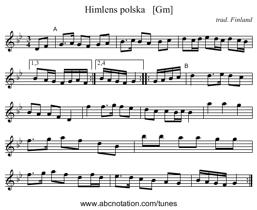 Himlens polska   [Gm] - staff notation