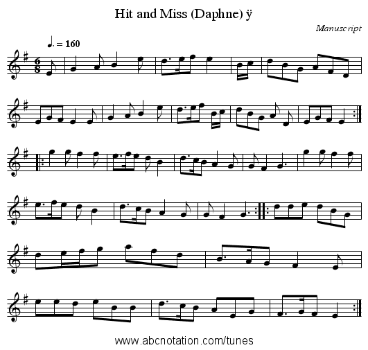 Hit and Miss (Daphne) ÿ - staff notation