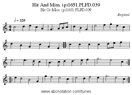 Hit And Miss. (p)1651.PLFD.039 - staff notation