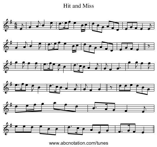 Hit and Miss - staff notation