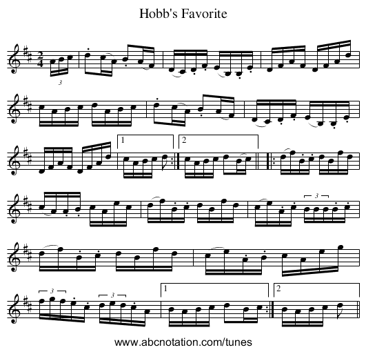 Hobb's Favorite - staff notation