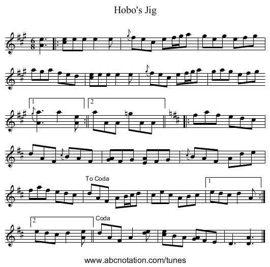 Hobo's Jig - staff notation