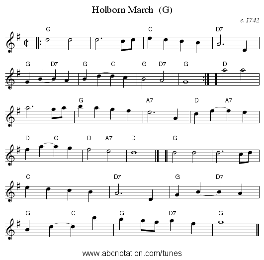 Holborn March  (G) - staff notation