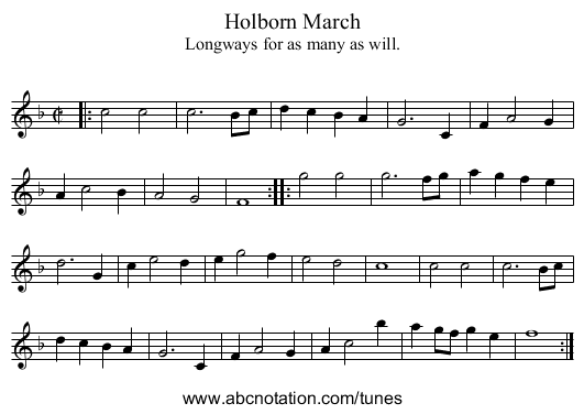 Holborn March - staff notation