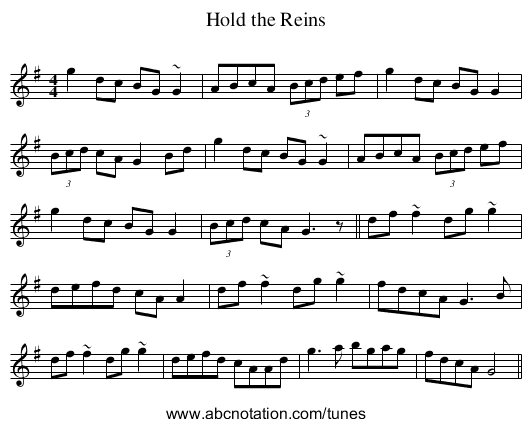 Hold the Reins - staff notation