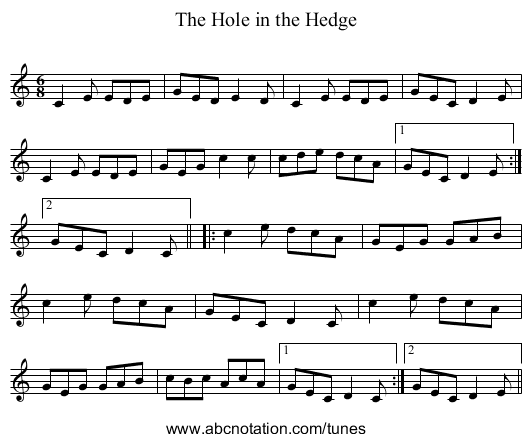 Hole in the Hedge, The - staff notation