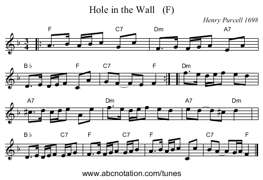 Hole in the Wall   (F) - staff notation