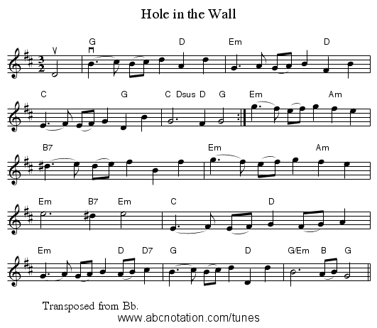 Hole in the Wall - staff notation