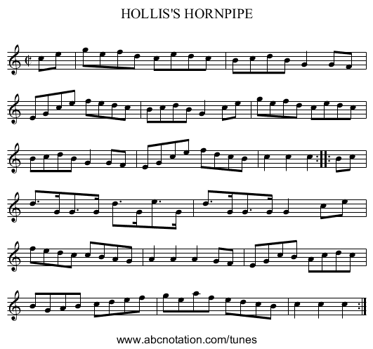 HOLLIS'S HORNPIPE - staff notation