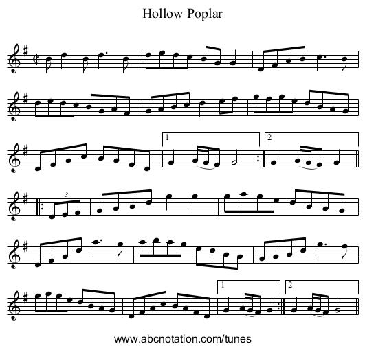 Hollow Poplar - staff notation