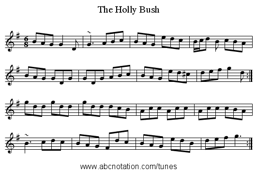 Holly Bush, The - staff notation