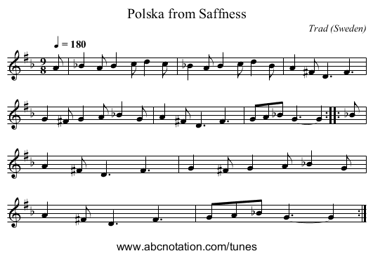 Holms o' Ire - staff notation