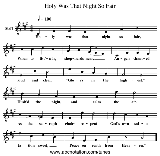 Holy Was That Night So Fair - staff notation